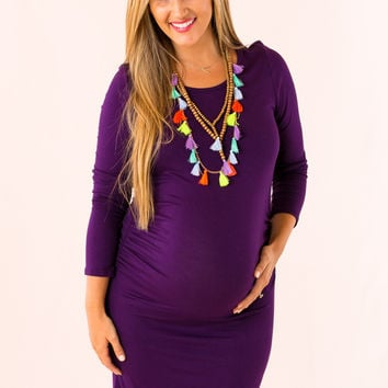Cute and Colorful Maternity Dress in Purple