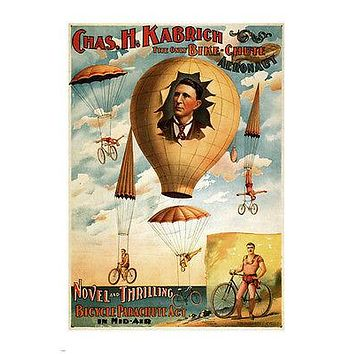 EXQUISITE the only bike-chute aeronaut 1886 VINTAGE AD POSTER 24X36 rare