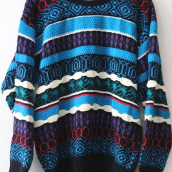 Bright Sweater, Vibrant Colors, Cosby Style, Unique Winter Pattern, Like New, 80s Ski