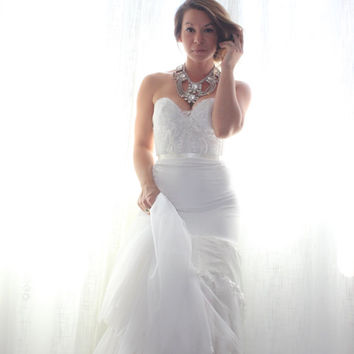 Wedding Dress Romantic Beaded and Lace Low Back  Chiffon- Catania Wedding Gown