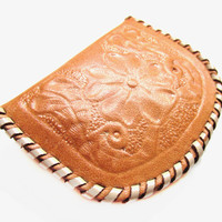 Vintage Tooled Leather Coin / Change Purse Wallet