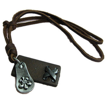Jewelry leather necklace chain necklace men necklace women necklace girls necklace metal necklace made of  alloy and brown leather pendant