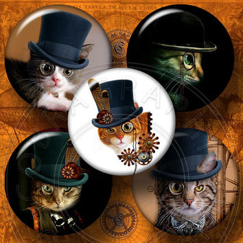 """Streampunk Cat - 1.629"""" and 1.313"""" circles for 1.25"""" and 1"""" buttons - Printable Digital Collage Sheets CG-659 - Instant download"""