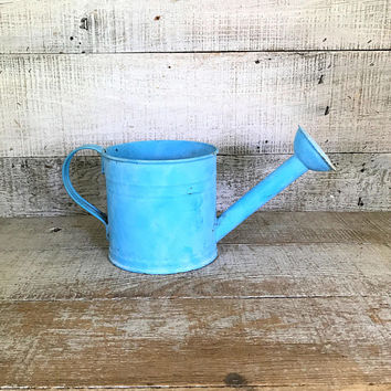 Watering Can Rustic Watering Can Blue Watering Can Water Can Planter Farmhouse Chic Watering Can Flower Pot Garden Decor Cottage Chic