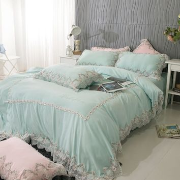 Pink green girls princess cotton lace bedding set queen king size bed set duvet cover bedsheet set beddingsets pillowcase