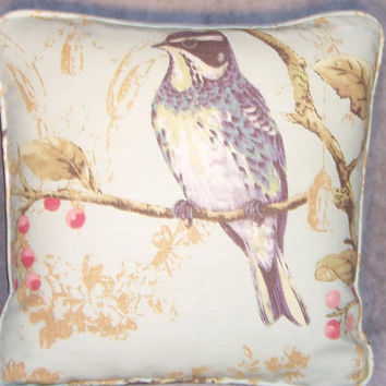 "Mint Green Sparrow Bird Print Throw Pillow Cover and Insert 17"" Square Cushion  Aqua  Toile Splendor Linen Cherry Blossoms  ( B )"