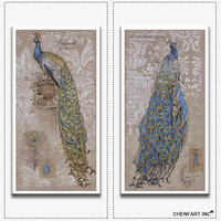 Hot sells 2panels one set Painting Canvas Living Room birds peacock wall art Home Decoration Modern oil Painting printed