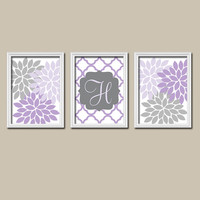Purple Lilac Gray Nursery Wall Art Canvas Artwork Custom Monogram Flower Letter Initial Set of 3 Prints Quatrefoil Decor Bedroom Baby Three
