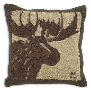 """Great Moose Hooked Wool Pillow - 26"""""""