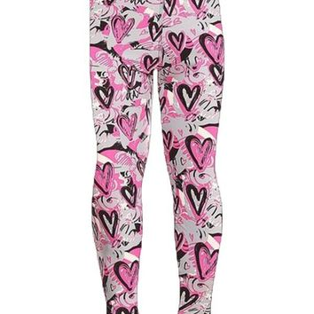Girl's Valentine's Day Graphic Heart Leggings Pink/Gray: S/L