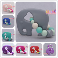 Handmade FDA Food Grade Silicone gray Elephant with beads Teething Ring baby teether silicone teether toy chewable beads teether