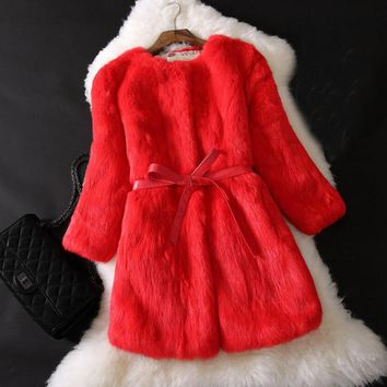 Three Quarter Sleeve Vintage Pure Rabbit Fur Outwear Real Fur Coat Female Factory Outlet Low discount Natural Fur Jacket tbsr275