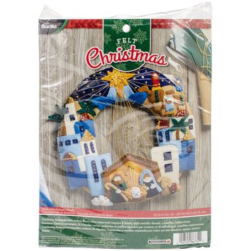 "Town Of Bethlehem Bucilla Felt Wreath Applique Kit 12""X12.5"""
