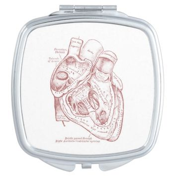 Human Vintage Anatomy Heart Red and White Mirrors For Makeup