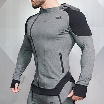 High Quality Men Zipper Hoodies Long Sleeve Bodybuilding Thin Hoodies Sweatshirts Gyms Muscle Fit Clothes