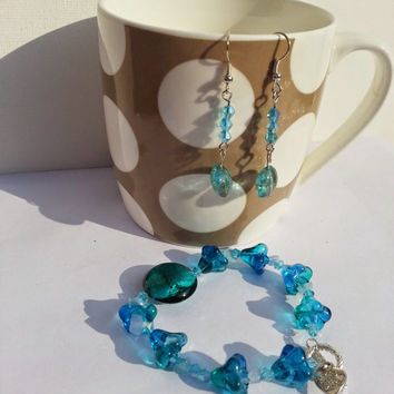Bracelet and earrings set turquoise teal lamp work bells and crystal glass beads drop silver plated handmade gift with made with love charm