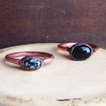 Snowflake Obsidian Ring - Tiny Ring - Raw Stone Ring - Copper Ring - Semiprecious Stone Ring - SIZE 8.75