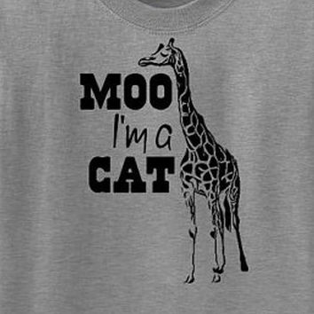 Moo I'm a Cat Funny Giraffe T Shirt - Mens Womens Ladies Funny Cool Shirt - Tee Shirt TShirt T-Shirt