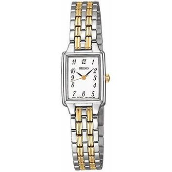 Seiko Ladies Stainless & Gold-Tone Watch - Full Numeral Dial - Rectangular