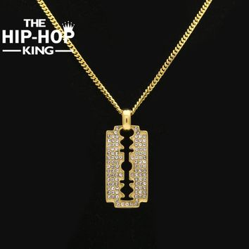 THE HIP HOP KING Razor Blade Necklace Hip Hop Gold Color Mens Iced Out Rhinestone Pendant Necklace With Free 27.5'' Cuban Chain