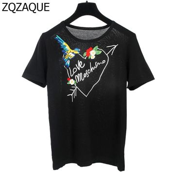 American Apparels 2017 Summer New Brand Designer Women's Knitting Tops Fashion Girls 3D Embroidery Bird Letters T-shirts SY1142