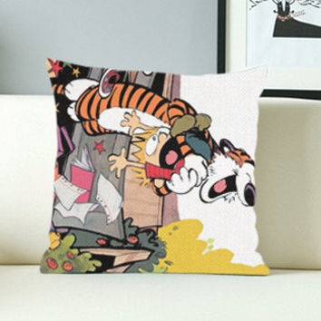 Calvin and Hobbes Funny - Design Pillow Case with Black/White Color.
