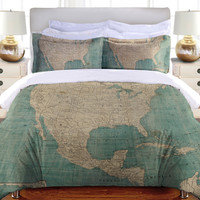 North America Map Duvet Cover and Shams