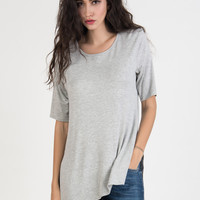 Grey Plain Split Side Short Sleeve T-shirt