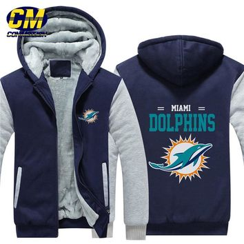 NFL American football winter thicken plus velvet zipper coat hooded sweatshirt casual jacket Miami Dolphins