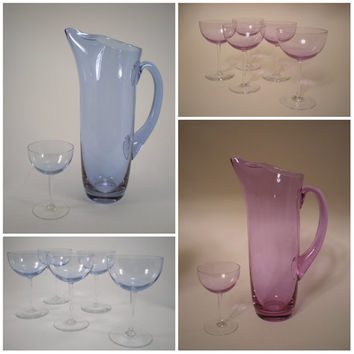 Color Changing Neodymium Glass Cocktail Set Alexandrite Tiffin Twilight Purple or Blue Pitcher 5 Glasses
