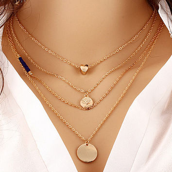 Multi-Layer European Heart Coin Clavicle Jewelry Collar Necklace
