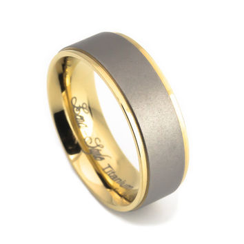 Yellow gold royal titanium rings for wedding or engagement