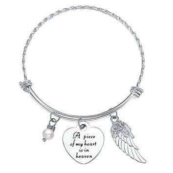 AUGUAU ELOI Memorial Necklace A Piece of My Heart Is in Heaven Pendant Jewelry In Memory of Mom Dad Grandpa Baby Loss Memorial Gift