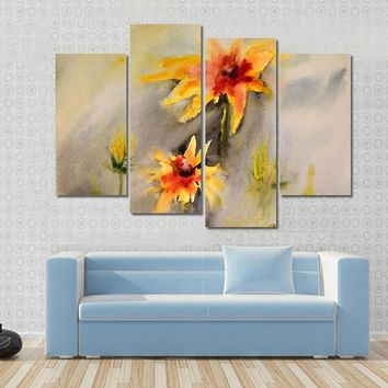 Watercolor Painting Of The Beautiful Flowers Abstract Canvas
