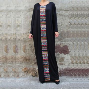 Black Kaftan Maxi Dress Plus Size Caftan Abaya Aztec Print Dubai India African Moroccan Dress