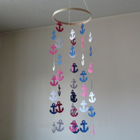 Nautical Anchor mobile! Nautical inspiration, nautical navy mobile, sailing, Ocean. Water, Nautical décor. Choose Your Colors!