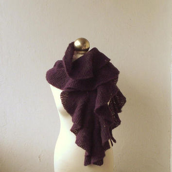 Purple - Plum hand knitted alpaca and silk scarf with flounces