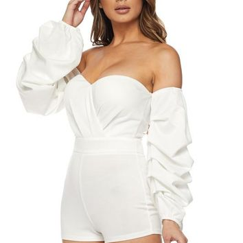 Off The Shoulder Detailed Sleeve Romper