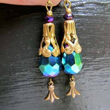 Art Nouveau Earrings Peacock Crystal Earrings Filigree Earrings 1920s Earrings Teardrop Earrings Blue Green Earrings- Peacock Feathers