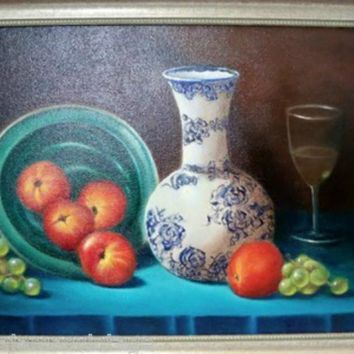 Vintage Oil Painting Still Life Fruit  Vibrant Colors Framed 13x17