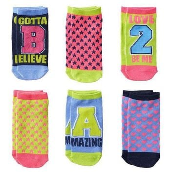 Pink Cookie 6 Pk. Sparkly ''gotta Believe'' No Show Socks   Girls Size: