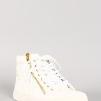 Liliana Quilted Leatherette Zipper Lace Up Sneaker