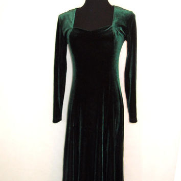 RESERVED (for Rhianon): 90s Maxi Dress, Vintage Expose Hunter Forest Green Velvet Floor Length Dress with Sweetheart Neckline Size S Small