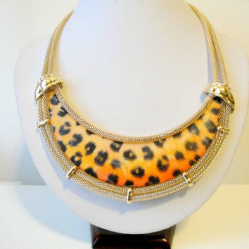 Gold Bib Necklace, Jerseylicious Necklace, Animal Print Necklace, Tribal Jewelry, Africa Tribal Necklace