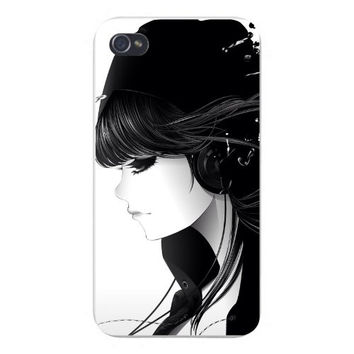 Apple Iphone Custom Case 4 4s Snap on - Cartoon Anime Girl Emo w/ Headphones & Black Hair