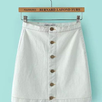 White Washed Vintage Feel Demin Mini Skirt