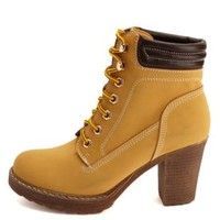Lace-Up Chunky Heel Work Boots by Charlotte Russe - Camel