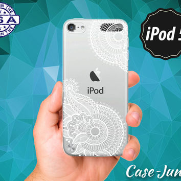 Ornate White Henna Tattoo Pattern Flower Floral Cute Tumblr Rubber Transparent Crystal Clear Custom Case For iPod Touch 5th Generation Gen