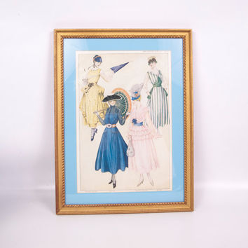 Antique 1916 The Designer Magazine Fashion Print Framed Upscale Sewing Room Wall Hanging Gold Frame Vintage Clothing Store Décor