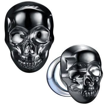 BodyJ4You Glass Ear Plugs Glossy Dark Blue Skull Double Flare Saddle Stretching Gauges Expander 0G-16mm